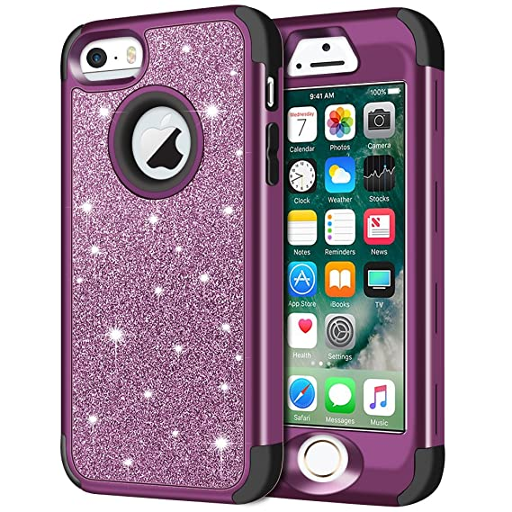 promo code bcc9f 1f596 iPhone SE Case, iPhone 5S Case, iPhone 5 Case, Anuck 3 in 1 Hybrid  Shockproof Protective Case for Girls Cute Bling Sparkly Glitter Heavy Duty  Armor ...