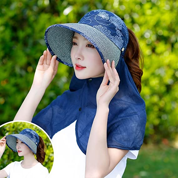 acff3b253f4 Amazon.com  KTYX Sun Protection Collapsible Outdoor Cycling Beach Hat Big 檐  Anti-UV Straw Hat Sun Hat Summer Hat (Color   1