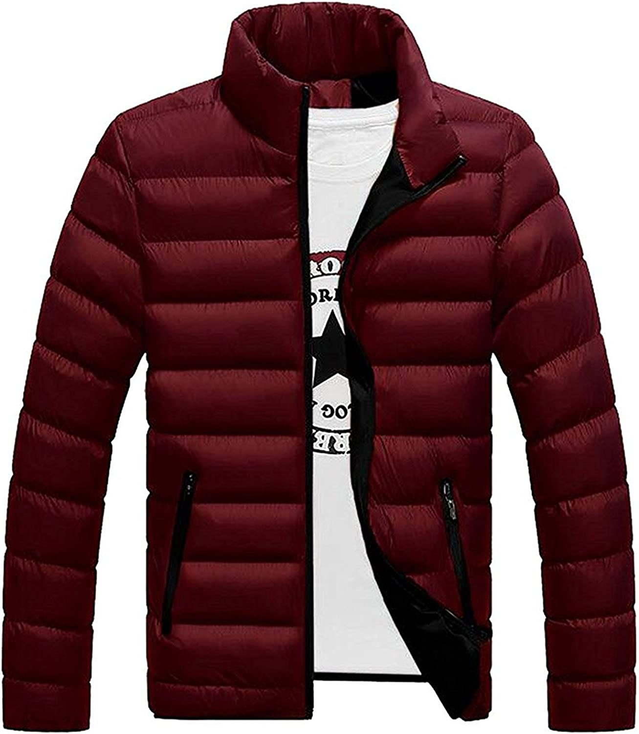 Shining4U Mens Down Puffer Jacket Stand Collar Slim Fit Padded Coat