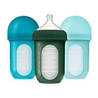 Boon, NURSH Reusable Silicone Pouch Bottle, Air-Free Feeding, 8 Ounce with Stage 2 Medium Flow Nipple (Pack of 3), Blue