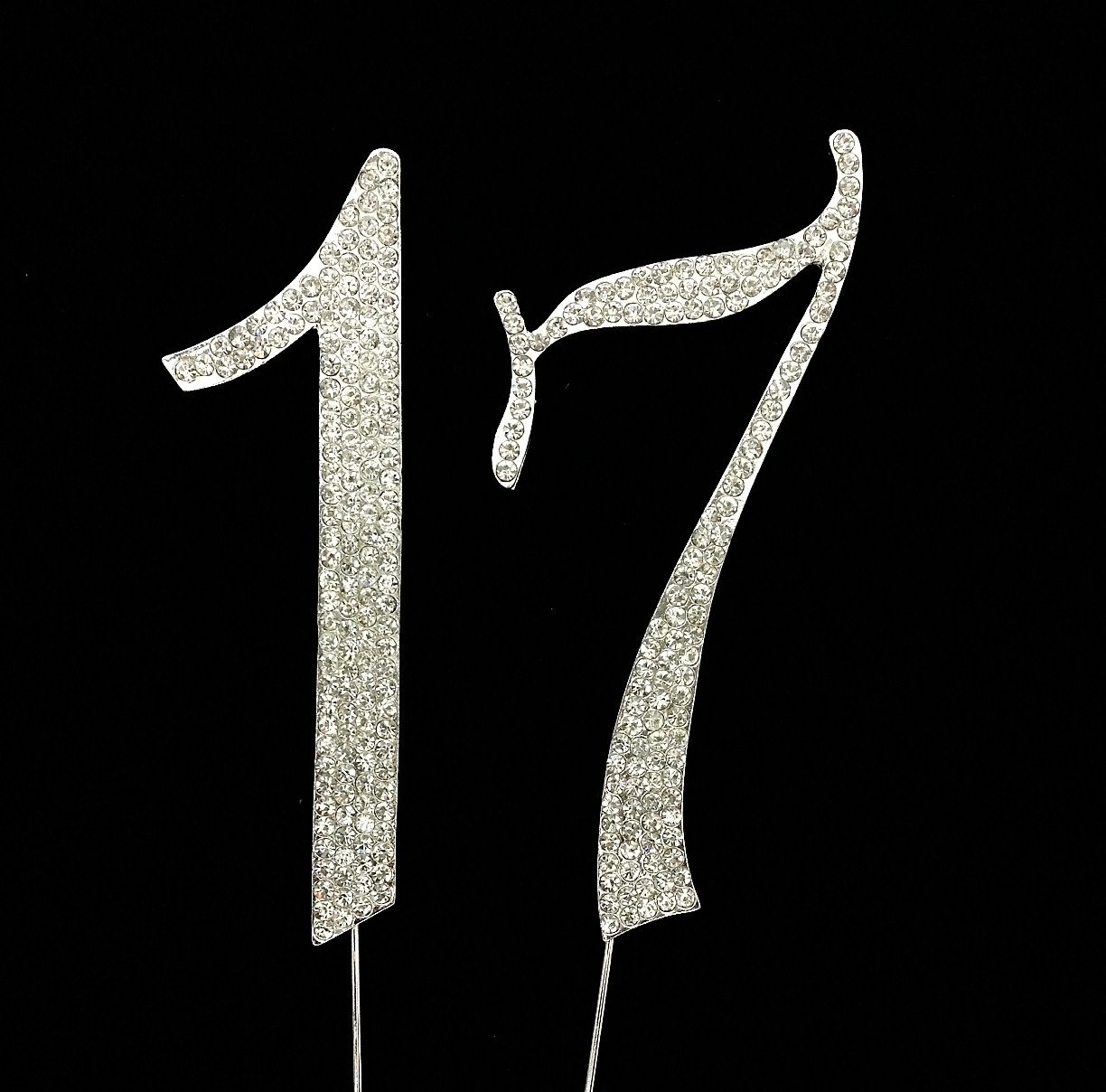 Silver Numbrer 17 for 17th Birthday or Anniversary Cake Topper Party Decoration Supplies 4.5 Inches Tall CC-NRCT-2 17th Year Cake Topper