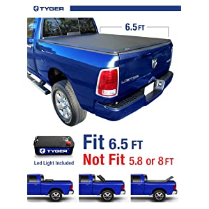 Tyger Auto TG-BC3D1011 TRI-FOLD Truck Bed Tonneau Cover 2002-2018 Dodge Ram 1500; 2003-2018 Dodge Ram 2500 3500 | Fleetside 6.5' Bed | For models without Ram Box