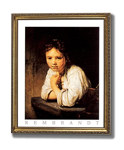 Amazoncom Rembrandt Victorian Girl Desk Portrait Wall Picture Gold