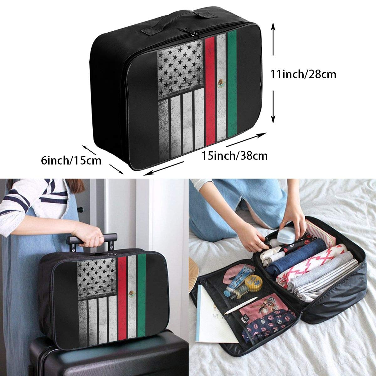 YueLJB Mexico Flag Lightweight Large Capacity Portable Luggage Bag Travel Duffel Bag Storage Carry Luggage Duffle Tote Bag