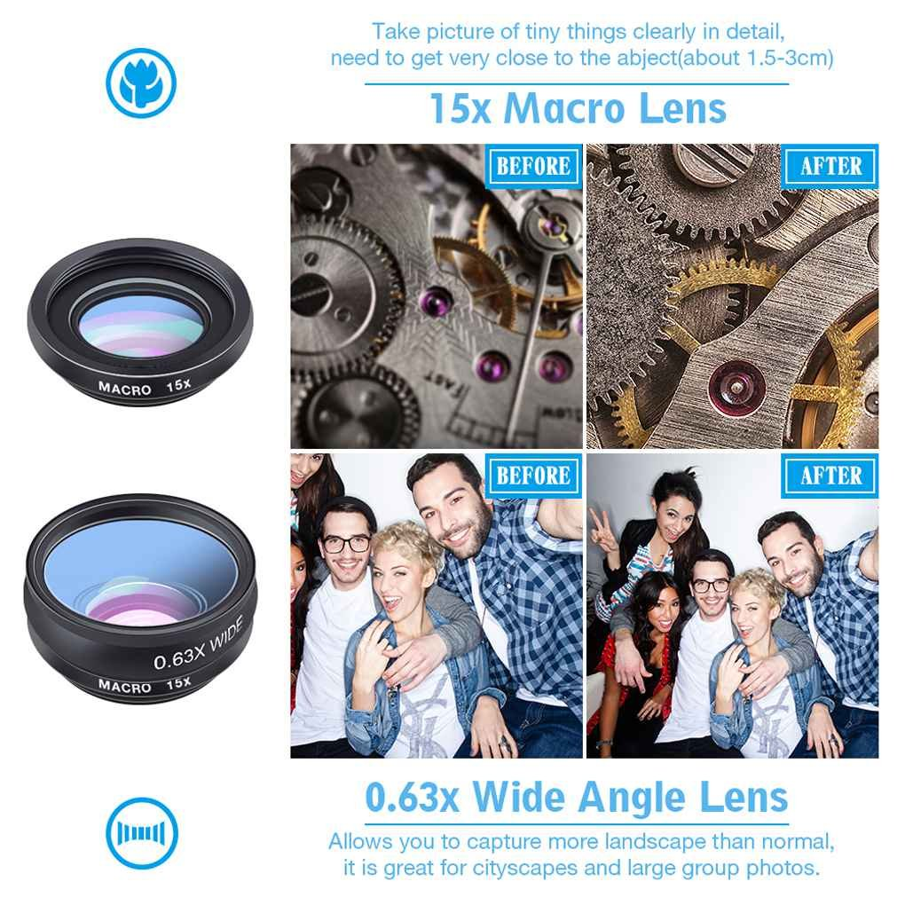 Busirde APEXEL APL-DG10 10 in 1 Phone Camera Lens Kit Fisheye Wide Angle Macro Telescope Lens for Smartphone