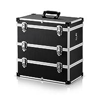 iKayaa Malette Aluminium Valise Aluminium de Transport Rigide Boîte à Outils 3 Couches Portable Contenant de Stockage avec Poignée et Sangle Grande