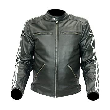 Bela Chaqueta de piel moto hombre Craft (52, Negro): Amazon ...