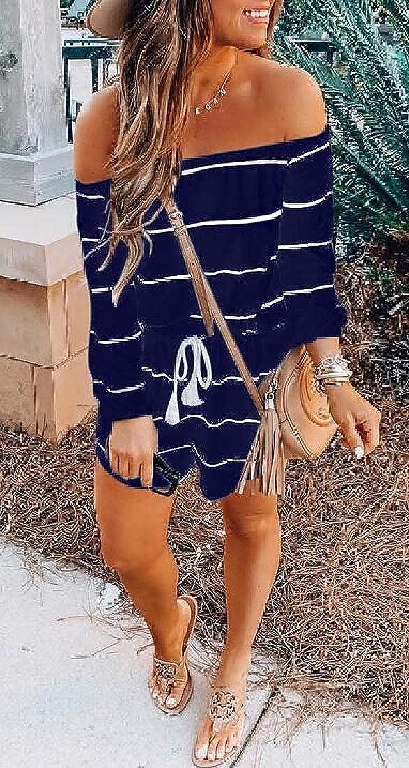 C/&H Women Fashion Playsuit Jumpsuit Stripe Off Shoulder Romper