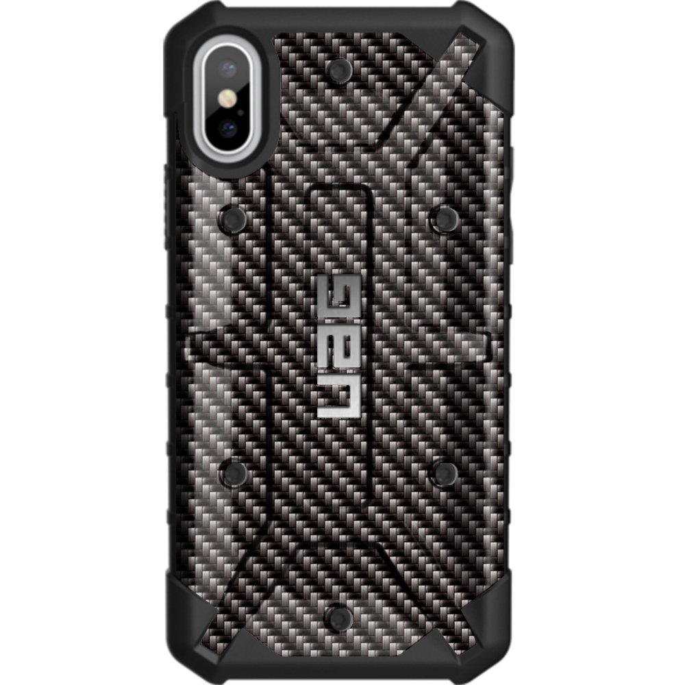 Limited Edition - Customized Designs by Ego Tactical Over a UAG- Urban Armor Gear Case for Apple iPhone X/Xs (5.8'')- Black Carbon Fiber