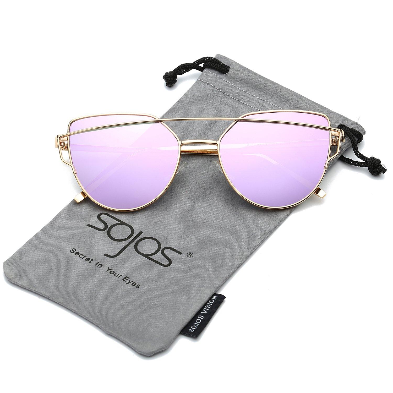 e06fb48a777b SOJOS Cat Eye Mirrored Flat Lenses Street Fashion Metal Frame Women  Sunglasses SJ1001 with Gold Frame