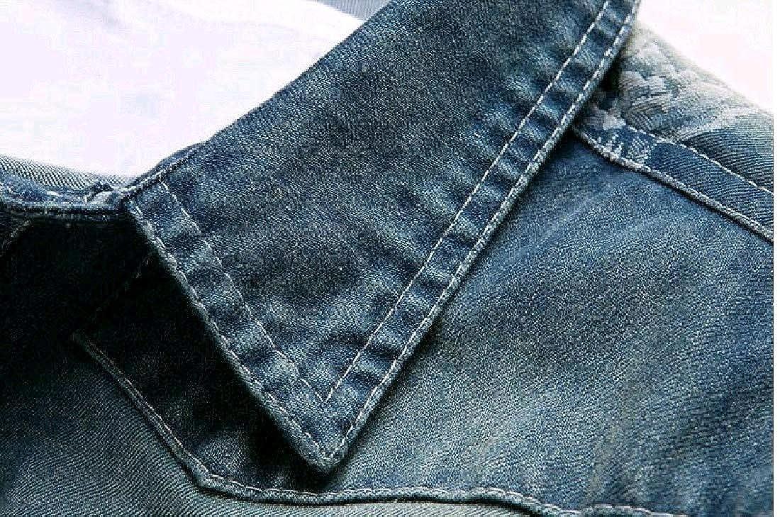 Tootless-Men Fall Long-Sleeve Stylish Print Jean Button Down Shirt