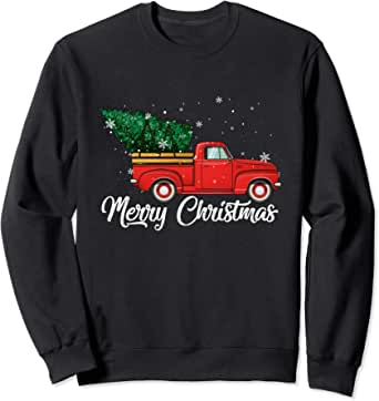 Christmas Tree Jumper Sweatshirt Red Truck design gift