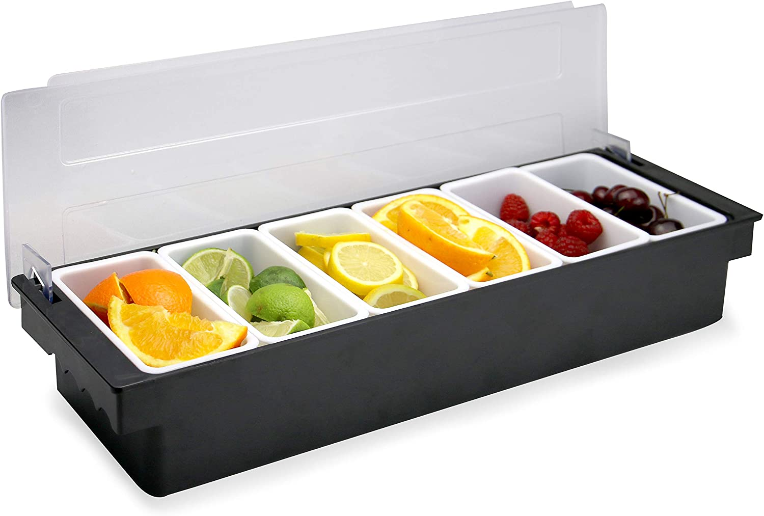 6 Compartment Condiment Dispenser Fruit Garnish Condiment Tray Bar Fruit Caddy Kitchen Ingredients Holder Pukkr Home Improvement