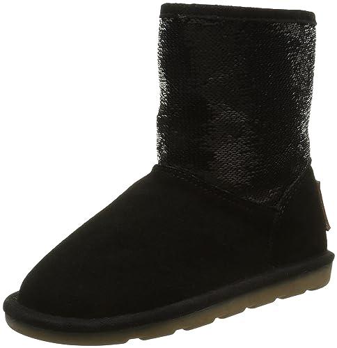 Les Tropeziennes Flocon - Botas De Nieve de Cuero Niña, Color Negro, Talla 31