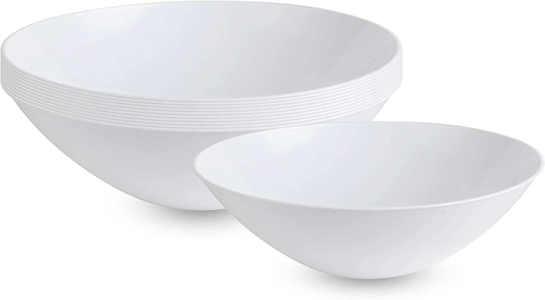 [16 OZ 10 Count] White Plastic Party Soup bowls Premium heavyweight Elegant Disposable Chanukah Tableware Dishes