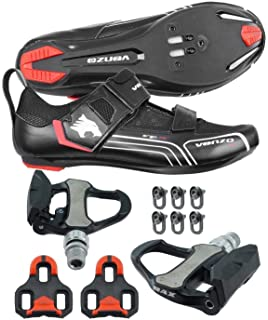 406bcb70869 Venzo Bicycle Bike Cycling Triathlon Shoes for Shimano SPD SL Look with  Pedals