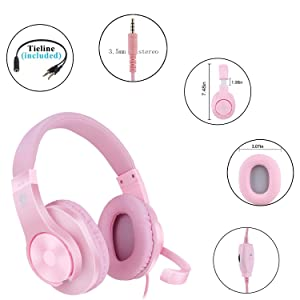 Meedasy Over-Ear Gaming Headphone for Xbox One, Nintendo Switch, Bass Surrounding Stereo, PS4 Gaming Headset with Microphone and Volume Control for Laptop, PC, Wired Noise Isolation (Pink) (Color: SL-300 pink)