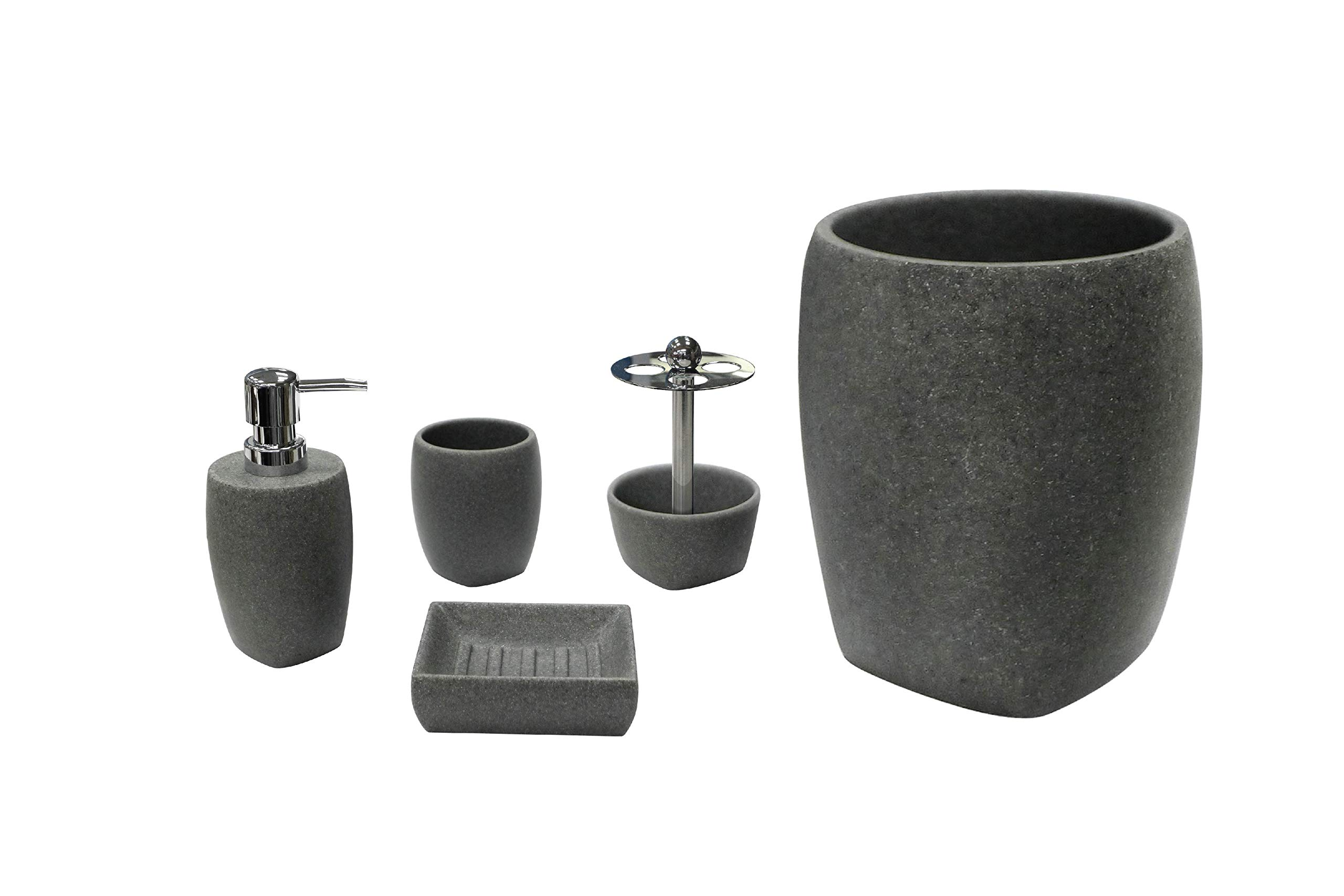 Allure Home Creations Charcoal Stone Tumbler, Grey
