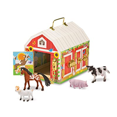"""Melissa & Doug Latches Barn Toy (Developmental Toy, Helps Improve Fine Motor Skills, Painted Wood Barn, 10.5\""""H x 7.5\""""W x 10\"""" L, Great Gift for Girls and Boys - Best for 3, 4, 5 Year Olds and Up): Toys & Games [5Bkhe0502966]"""