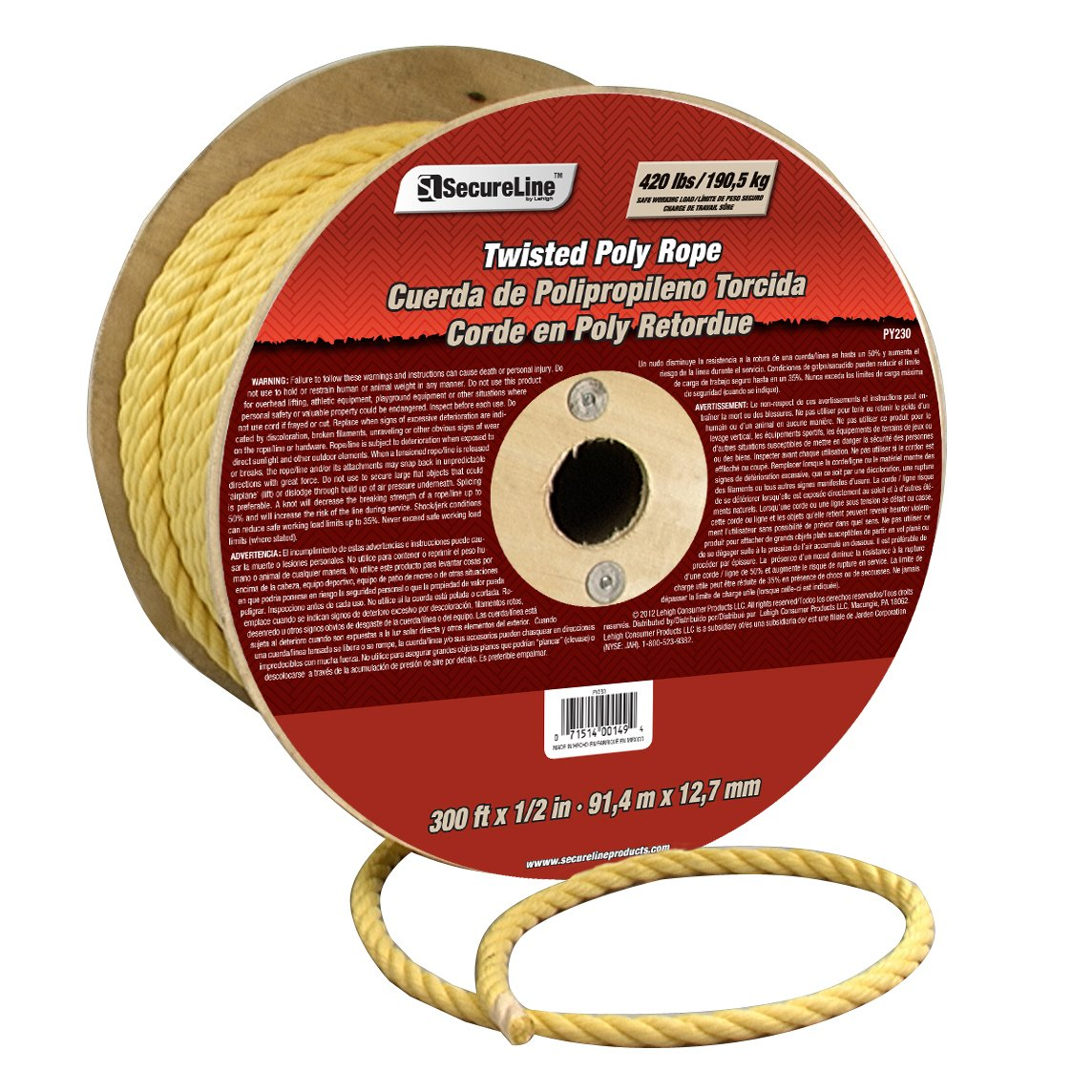 Lehigh Group PY230 1/2'' x 300' Polypropylene Twisted Rope, Yellow