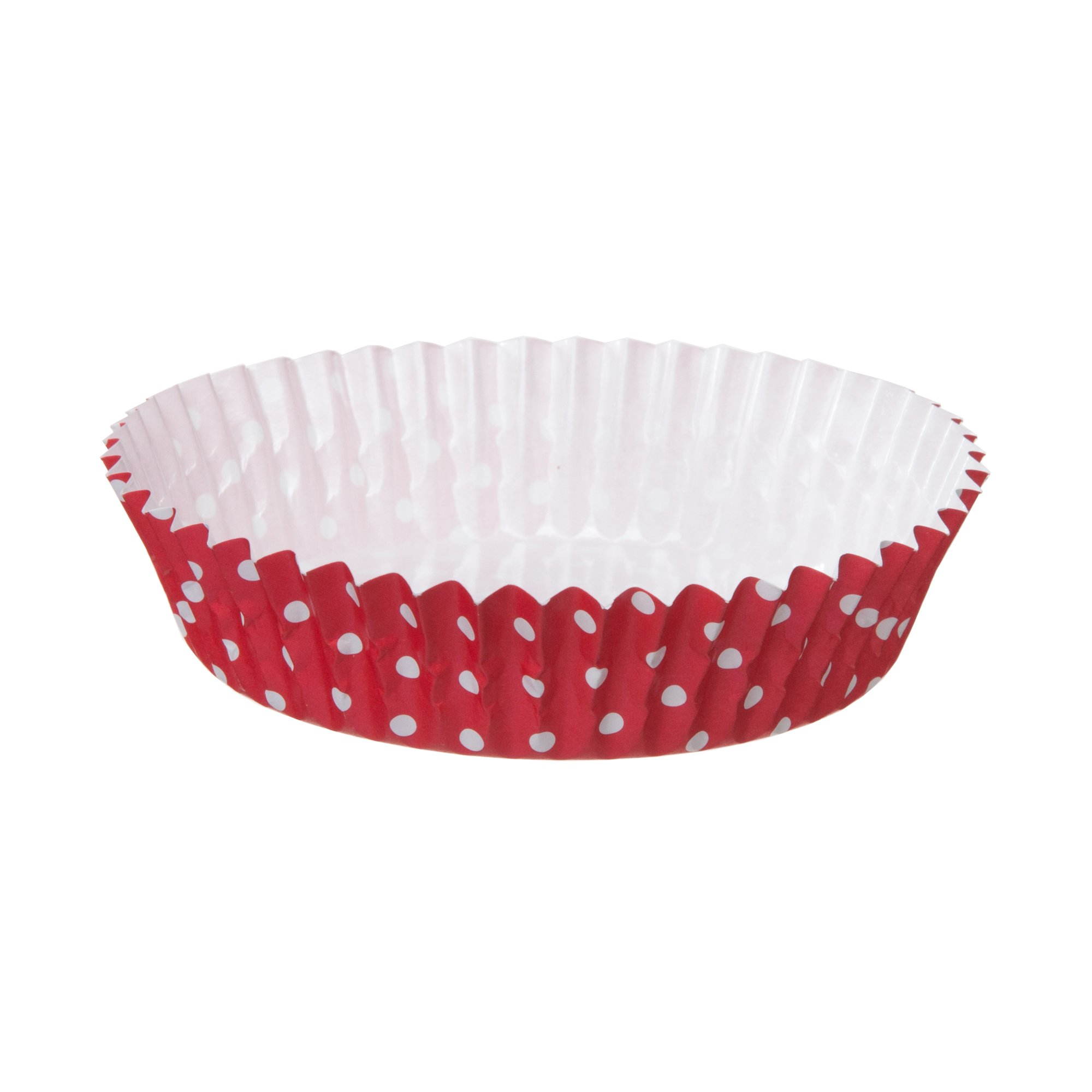 Welcome Home Brands Ruffled Baking Cups, Red with White Dots, 3.9''d x 1.2''h, Case/1500
