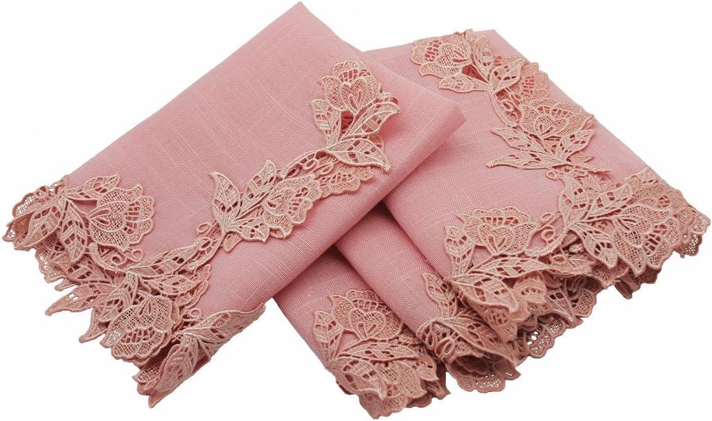 Manor Luxe English Lace Trim Napkins, 20-Inch, Set of 4, Rose Quartz, 20 x 20