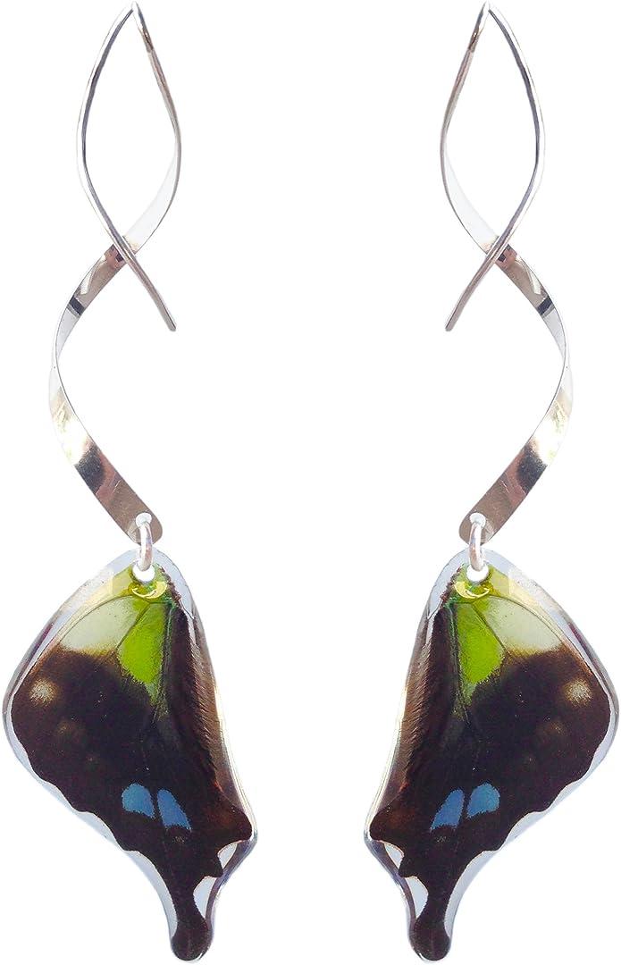 Real butterfly wing earrings for women 14k gold butterfly earrings sterling silver insect earrings threader hooks