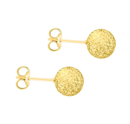 e172661c5 Carissima Gold Women's 9 ct Yellow Gold 8 mm Diamond Cut Ball Stud Earrings:  Amazon.co.uk: Jewellery