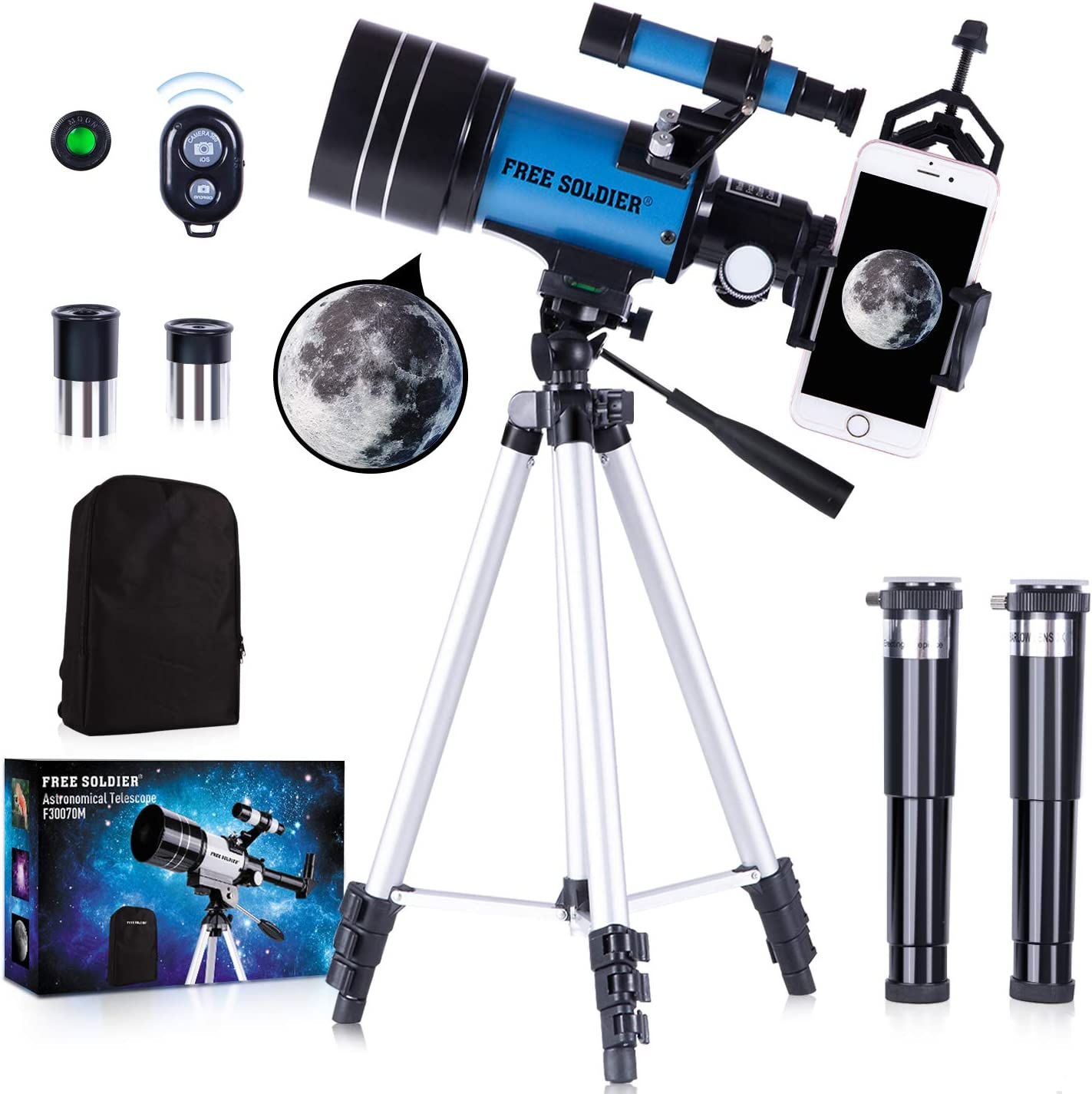 FREE SOLDIER Telescope for Kids&Astronomy Beginners - 70mm Aperture Refractor Telescope for Stargazing With Adjustable Tripod Phone Adapter Wireless Remote Perfect Travel Telescope Gift for Kids, Blue