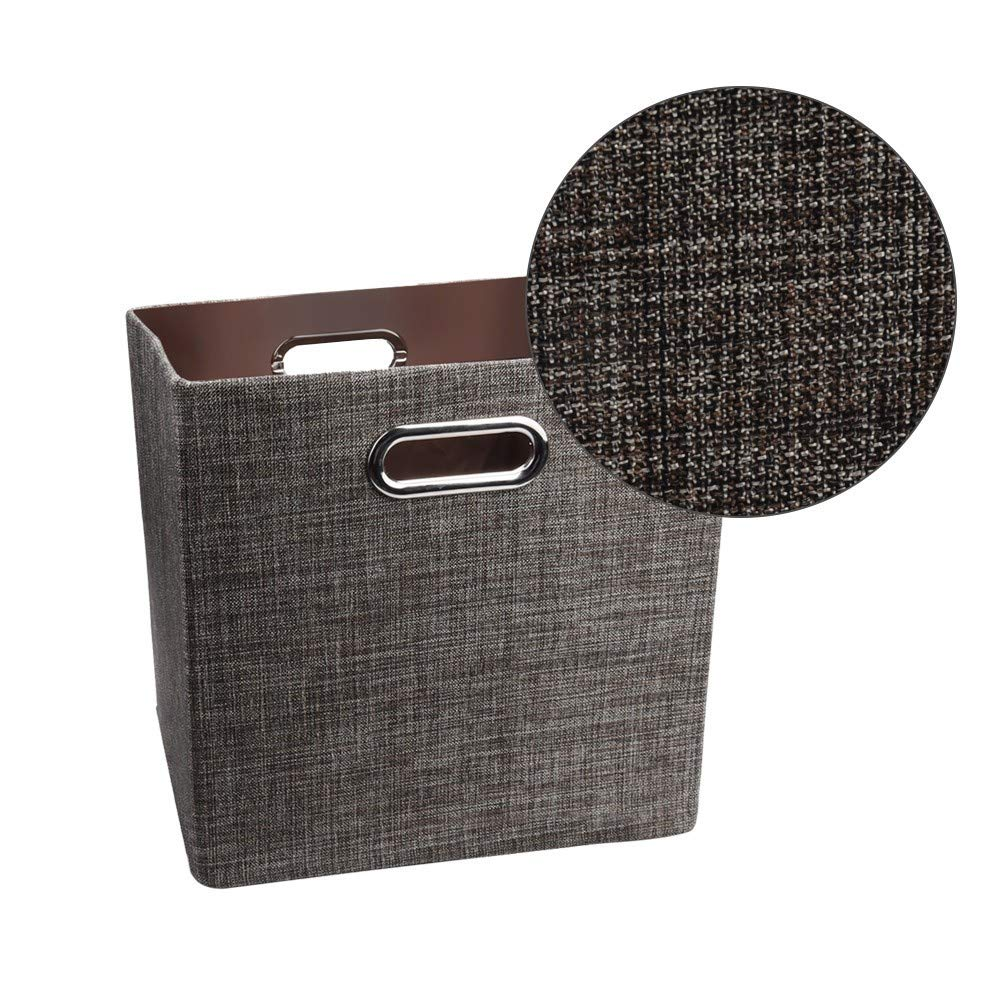 4Pcs Fashion Linen Cotton Foldable Storage Ottoman Locker Fabric Toy Storage Box-SUNSEE 2019 (Brown)