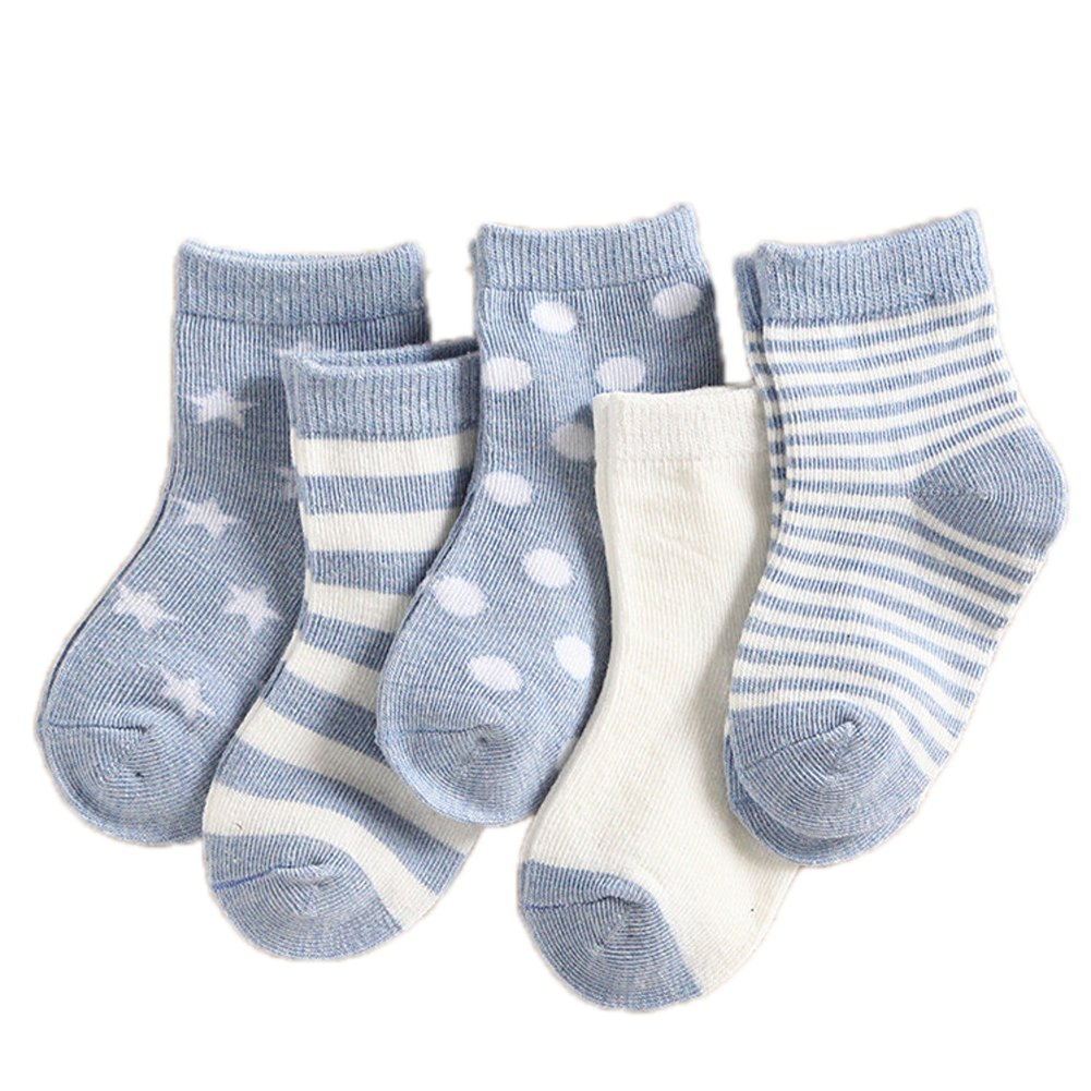 Skyflying 95/% Cotton 5 Pairs Thin Natural Unisex Socks 0 to 3-year-old