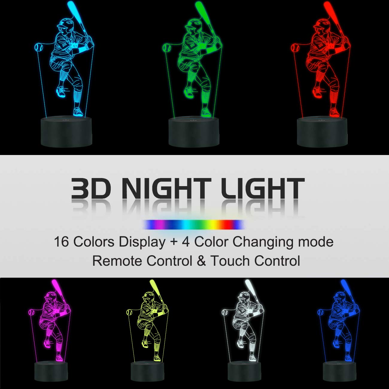 Baseball 3D Night Light for Kids,FULLOSUN Optical Illusion LED Lamp,16 Colors Changing Remote Control Sport Fan Room Decoration Xmas Birthday Gift for Teen Boy Baseball