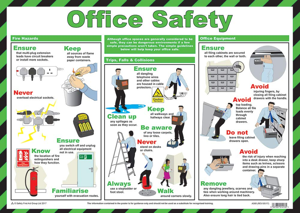Safety First Aid Group, Office Safety Poster A580T