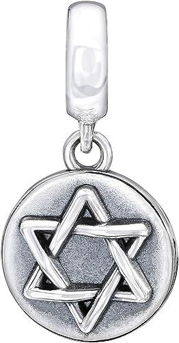 Argent Sterling 925 étoile de David Charme Bracelet-Nouveau