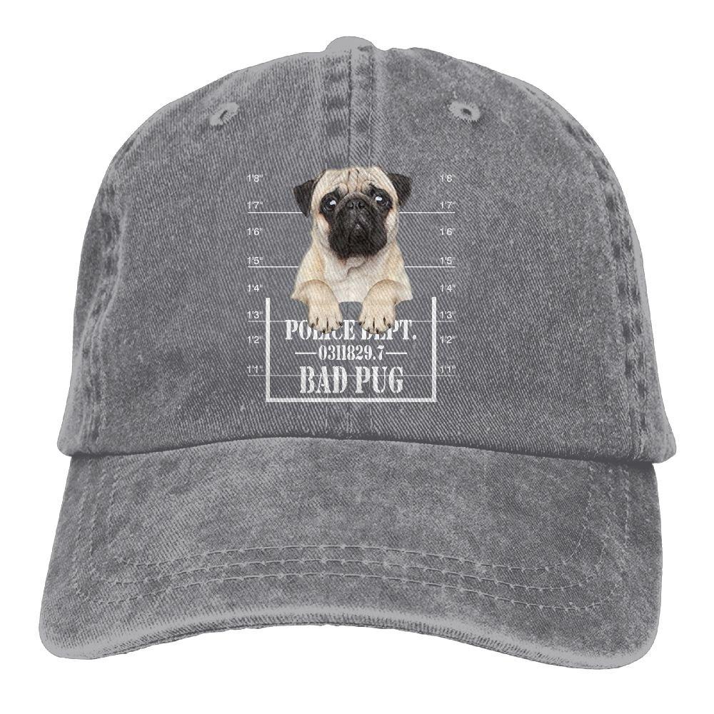 Buyiyang-01 Men Women Funny Bad Pug Cotton Denim Baseball Hat Adjustable Dad Hat