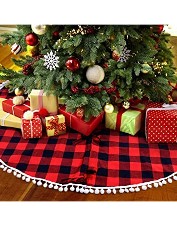 9ce54dab9 OurWarm 48 Inch Buffalo Plaid Christmas Tree Skirt Red and Black Buffalo  Check Tree Skirt with