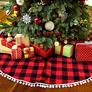 OurWarm 48 Inch Buffalo Plaid Christmas Tree Skirt Red and Black Buffalo Check Tree Skirt with Pom Pom, Double Layers Xmas Tree Skirt for Holiday Christmas Decorations