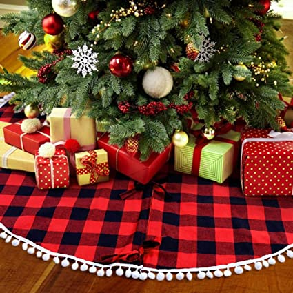 partytalk 48 inch christmas tree skirt red and black buffalo plaid tree skirt with pom pom - Red And Black Christmas Decorations