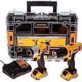 Dewalt DCK211D2T - Kit de taladro, atornillador y batería, color negro y amarillo