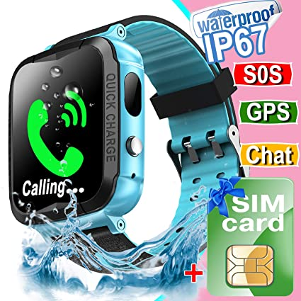 Waterproof Kids Smart Watch Phone[FREE SIM], GPS Tracker Smartwatch with Camera Alarm S0S Two-way Texting Calling, Touch Screen Kid Cellular Watch ...