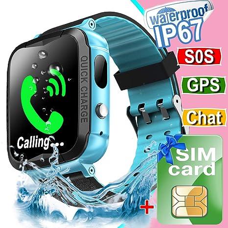 Amazon.com: Waterproof Kids Smart Watch Phone[Free SIM],GPS ...