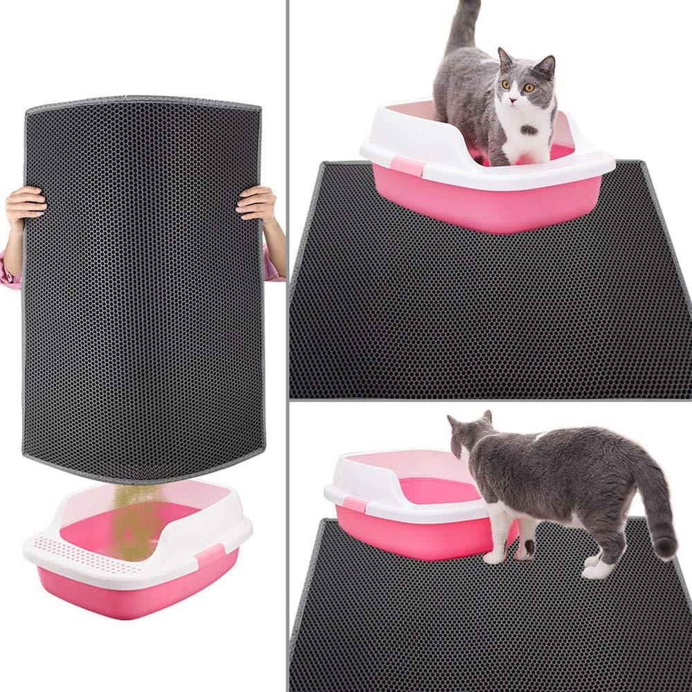 BYCWS Caja de Arena para Gatos Trampilla de Arena, diseño de Nido de Abeja de Doble Capa Material Impermeable a Prueba de orina, fácil Limpieza y protección ...