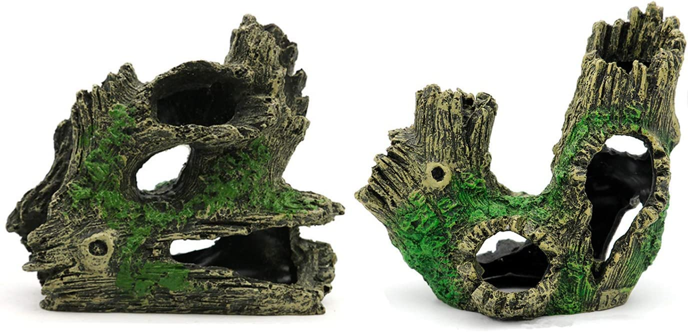 HERCOCCI 2 Pack Aquarium Log Decorations, Decaying Trunk Aquarium Cave Resin Decor Betta Fish Tank Log Wood with Hideout Holes for Play Rest Breed Freshwater & Saltwater Ornament