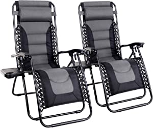 MFSTUDIO Zero Gravity Chair Large Patio Lounge Recliners Adjustable Padded Folding Chair with Cup Holder for Poolside Outdoor Yard Beach, Set of 2 - Gray