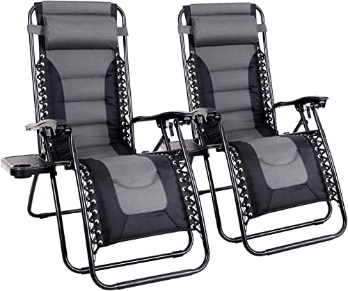 MFSTUDIO Zero Gravity Chair Large Patio Lounge Recliners Adjustable Padded Folding Chair