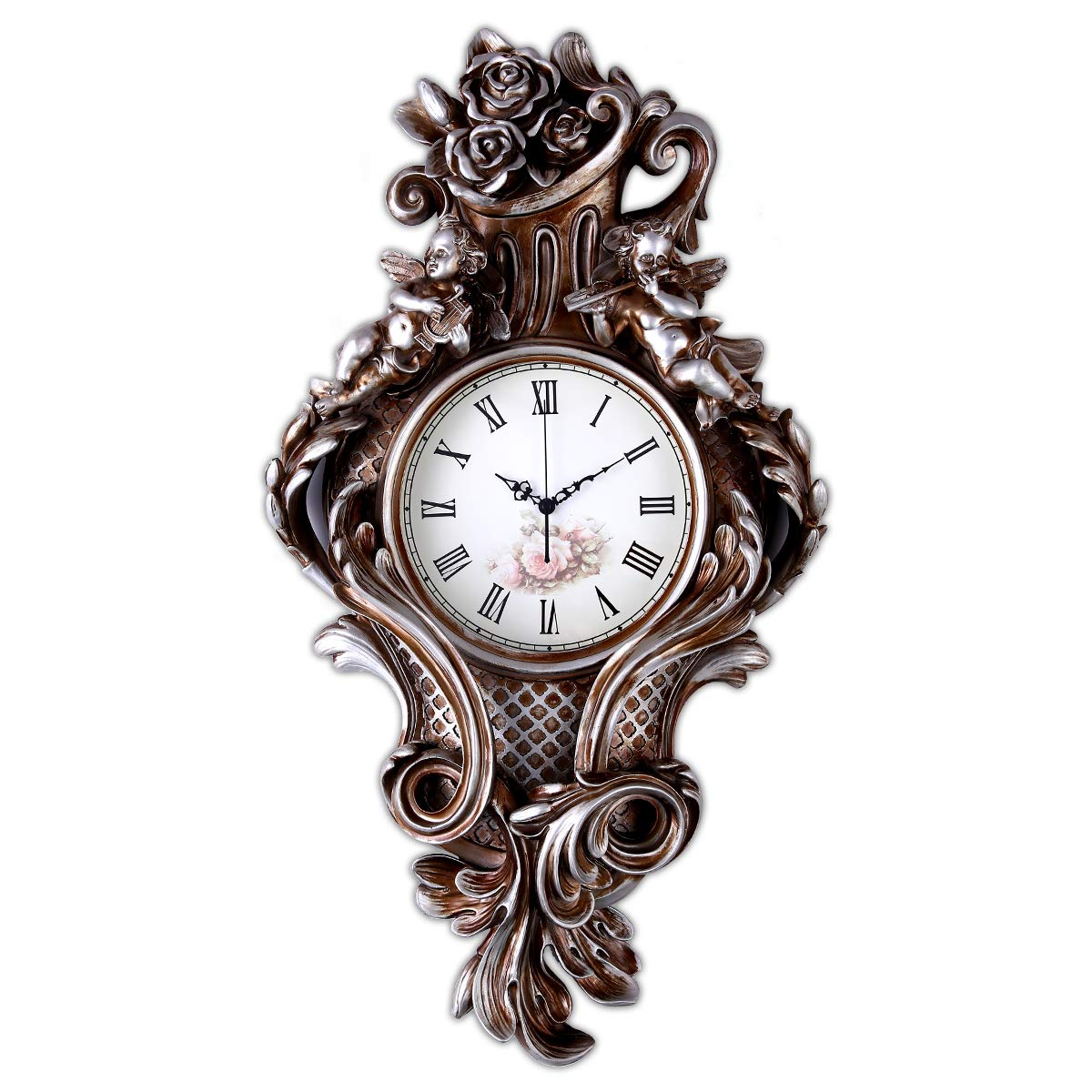 Fancy Elegant Ethnic Luxury Wall Clock W22H35 Inch Large Handmade Art Resin Antique Creative Fashion Battery Silent European American Bronze Rose and Angel Decorative for Living Room Home Adult ZJART