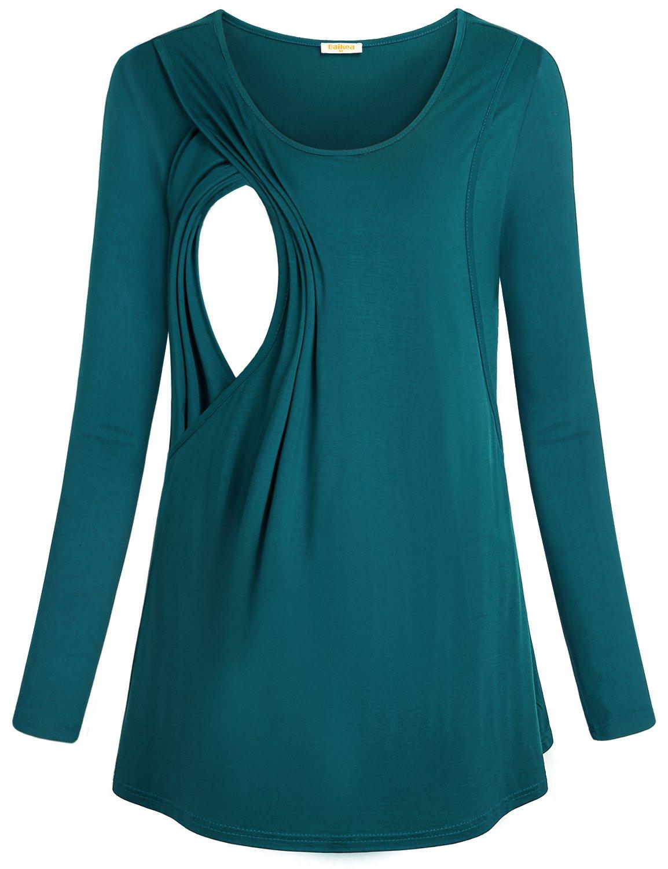 Baikea Maternity Nursing Top, Ladies Plus Size 95% Cotton Loose Fit Comfy Long Sleeve Breastfeeding T-Shirt Layered Nursing tee Plus SizeCyan XXL