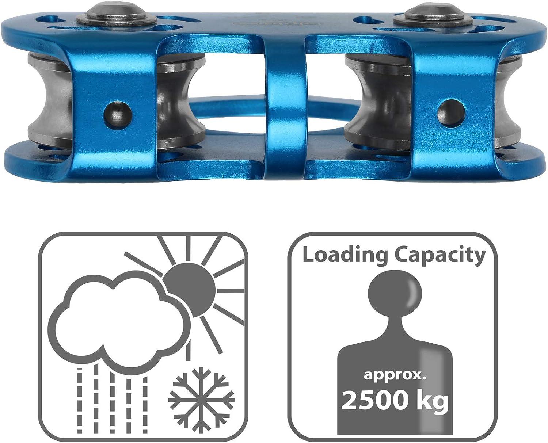 para Cuerdas Textiles con un di/ámetro de hasta 13 mm y para Cables de Acero de hasta 12 mm ALPIDEX Polea Doble Tandem Pulley