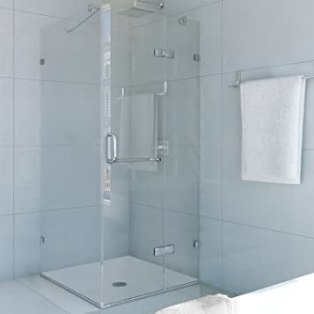 frameless shower enclosure with 375in