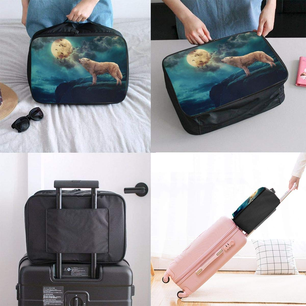 Travel Luggage Duffle Bag Lightweight Portable Handbag Wolf Print Large Capacity Waterproof Foldable Storage Tote